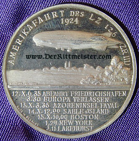 TABLE MEDAL - DR. HUGO ECKNER AND LZ-126 - Imperial German Military Antiques Sale