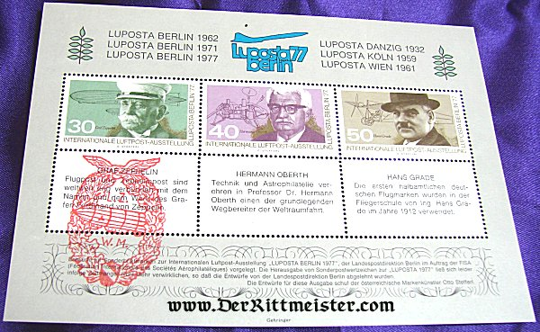 SPECIAL EDITION - STAMPS HONORING THREE AVIATION PIONEERS - WEST GERMANY - Imperial German Military Antiques Sale