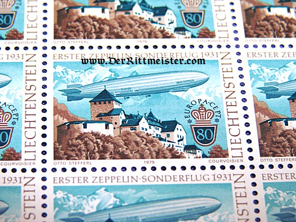 BLOCK TWENTY POSTAGE STAMPS - GRAF ZEPPELIN - 1931 FLIGHT - LIECHTENSTEIN - Imperial German Military Antiques Sale