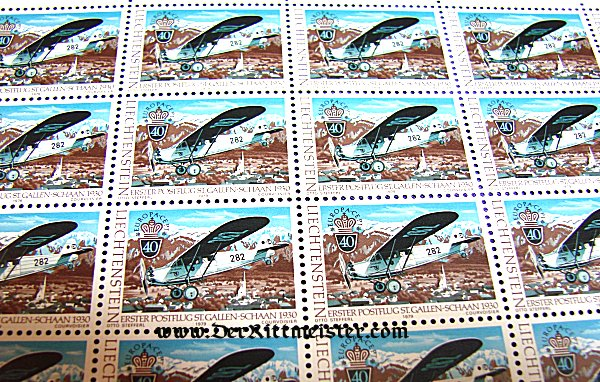 BLOCK TWENTY POSTAGE STAMPS - EARLY AVIATION - LIECHTENSTEIN - Imperial German Military Antiques Sale