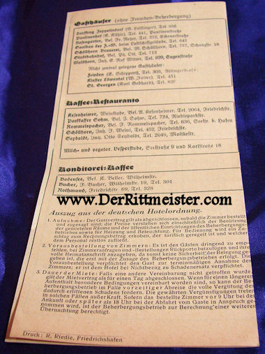 1937 HOTEL LISTING - FRIEDRICHSHAFEN - Imperial German Military Antiques Sale