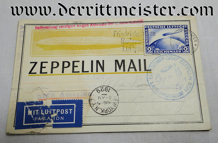 ENVELOPE FLOWN ON FIRST ZEPPELIN FLIGHT FROM GERMANY TO USA - Imperial German Military Antiques Sale