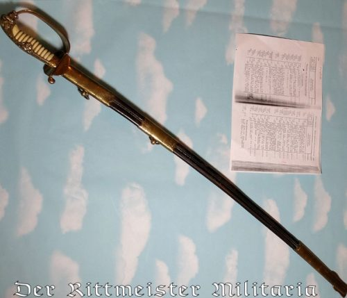 IDENTIFIED NAVY OFFICER'S SWORD - Imperial German Military Antiques Sale
