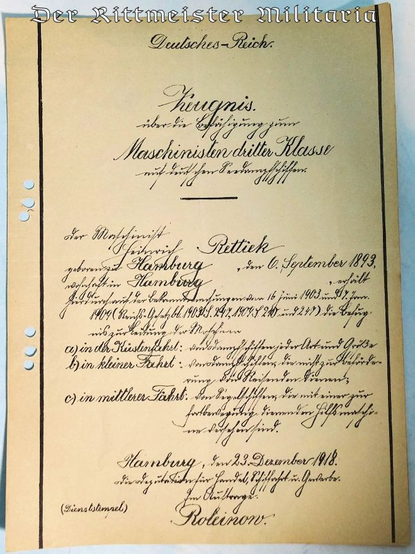ENLISTED KAISERLICHE MARINE SAILOR'S PROMOTION PATENT - Imperial German Military Antiques Sale