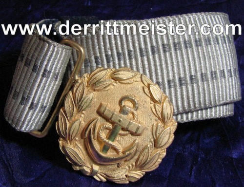 REICHSMARINE OFFICER - BROCADE BELT - BUCKLE - Imperial German Military Antiques Sale