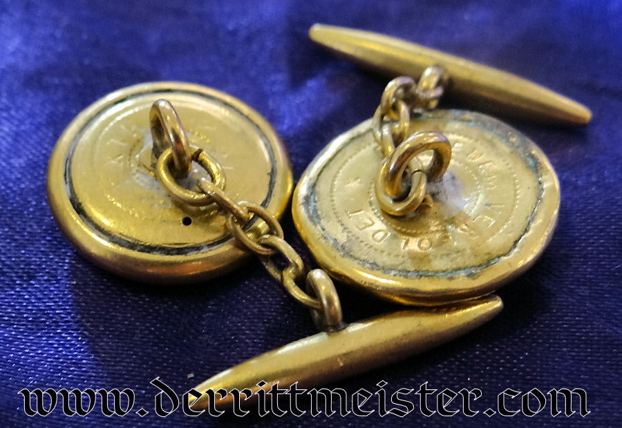 KAISERLICHE MARINE OFFICER'S CUFF LINKS - Imperial German Military Antiques Sale