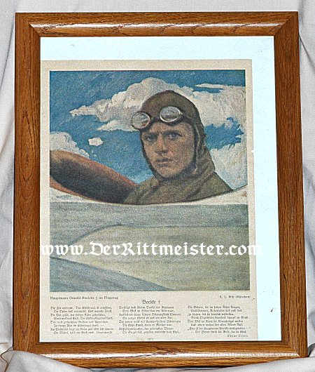 FRAMED COLOR ILLUSTRATION OF AND POEM TO OSWALD BOELCKE - Imperial German Military Antiques Sale