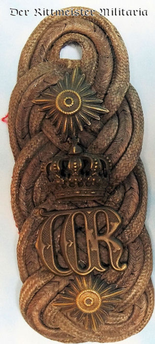 SINGLE SHOULDER BOARD FOR GENERAL der INFANTERIE WITH KAISER WILHELM II'S ROYAL CYPHER - Imperial German Military Antiques Sale