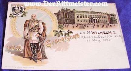 COLOR POSTCARD - KAISER WILHELM I - Imperial German Military Antiques Sale