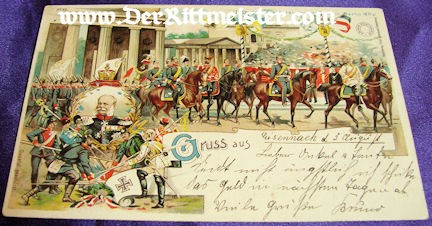 COLOR POSTCARD - KAISER WILHELM I - CELEBRATION - 1871 - VICTORY - FRANCO-PRUSSIAN WAR - Imperial German Military Antiques Sale