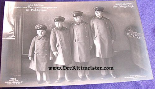 POSTCARD - KRONPRINZ WILHELM'S FOUR SONS - FELDGRAU UNIFORMS - Imperial German Military Antiques Sale