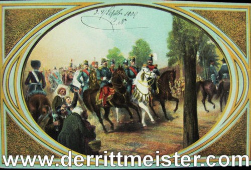 COLOR POSTCARD KÖNIG WILHELM I - TSAR ALEXANDER II AND NAPOLEON III - Imperial German Military Antiques Sale