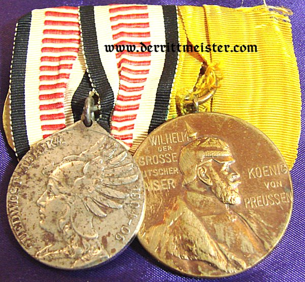 MEDAL BAR - TWO PLACE - SOUTHWEST AFRICA NON COMBATANTS MEDAL AND KAISER WILHELM I CENTENNIAL MEDAL - Imperial German Military Antiques Sale