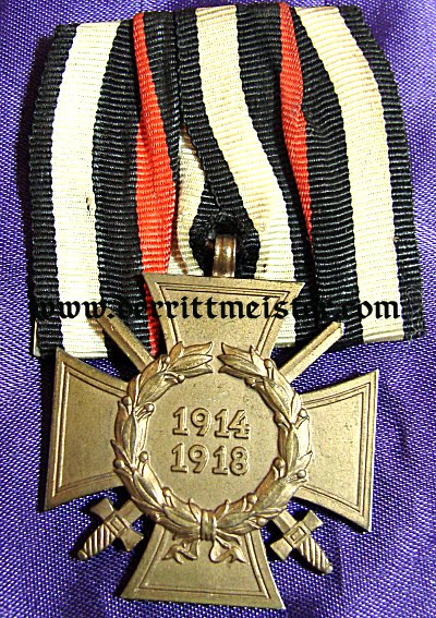MEDAL BAR - ONE PLACE - HINDENBURG CROSS FOR COMBATANTS - Imperial German Military Antiques Sale