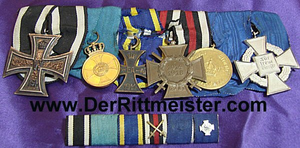 MEDAL BAR - SIX PLACE WITH MATCHING RIBBON BARS - Imperial German Military Antiques Sale