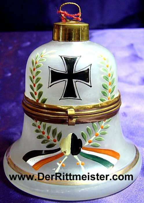 BELL-SHAPED GLASS PATRIOTIC BOX - Imperial German Military Antiques Sale