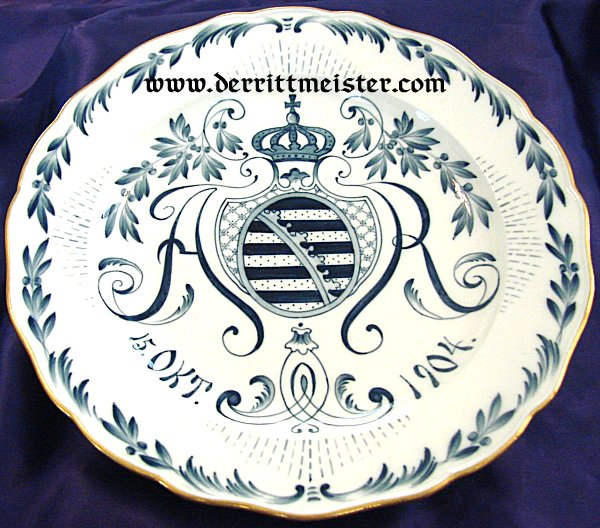 MEISSEN PLATE FOR KÖNIG FRIEDRICH AUGUST III'S CORONATION - SAXONY - Imperial German Military Antiques Sale
