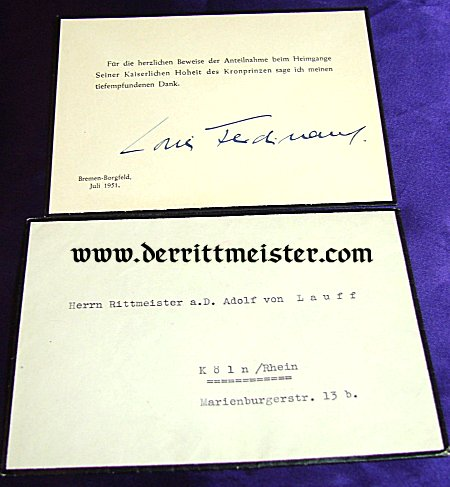 CONDOLENCE THANK YOU CARD FROM PRINZ LOUIS FERDINAND OF PRUSSIA FOR HIS FATHER KRONPRINZ WILHELM OF PRUSSIA - Imperial German Military Antiques Sale