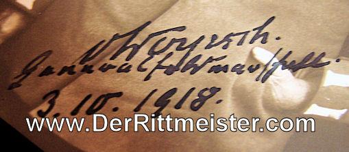 AUTOGRAPHED POSTCARD - GENERALOBERST von WOYRSCH - Imperial German Military Antiques Sale