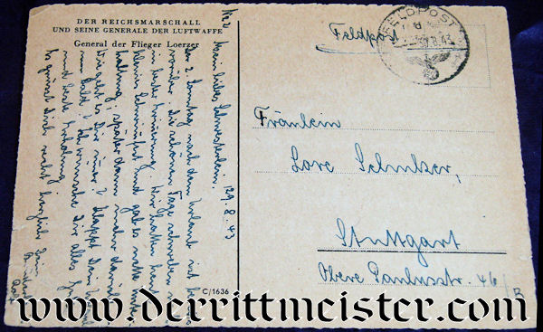 AUTOGRAPHED POSTCARD - WW I PLM-WINNER - WW II LUFTWAFFE GENERAL - BRUNO LOERZER - Imperial German Military Antiques Sale