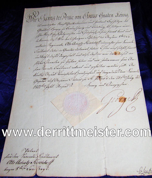 PROMOTION PATENT - HANOVERIAN OFFICER - SIGNED - KING GEORGE III - Imperial German Military Antiques Sale
