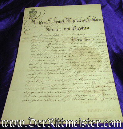 OFFICER'S PATENT SIGNED BY KÖNIG JOHANN - SAXONY - Imperial German Military Antiques Sale
