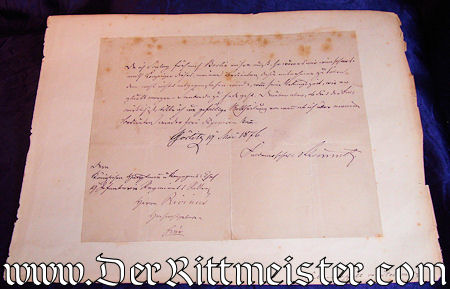 AUTOGRAPHED LETTER FROM GENERALFELDMARSCHALL KARL FRIEDRICH von STEINMETZ - Imperial German Military Antiques Sale