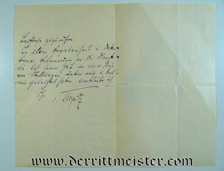 HANDWRITTEN LETTER TO FRIEDRICH von INGENOHL FROM ADMIRAL ALFRED von TIRPITZ - Imperial German Military Antiques Sale