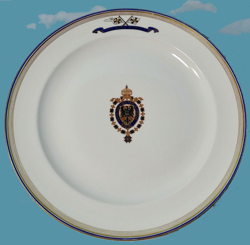 LARGE SERVING PLATTER FROM KAISER WILHELM II's S. M. S. KAISER WILHELM II DINNER SERVICE - Imperial German Military Antiques Sale