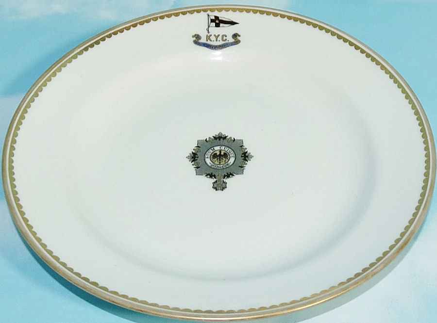 BREAD PLATE FROM KAISER WILHELM II'S RACING SLOOP S. M. Y. IDUNA WITH KAISERLICHER YACHT CLUB (KYC) - Imperial German Military Antiques Sale