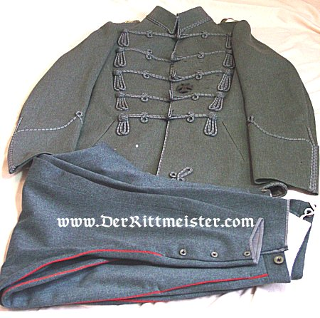 FELDGRAU UNIFORM (ATTILA AND TROUSERS) GROUP - HUSAREN-REGIMENT Nr 17 - FOR DUKE (HERZOG) ERNST AUGUST - BRAUNSCHWEIG - Imperial German Military Antiques Sale