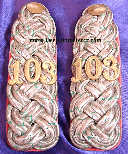 SAXONY - SHOULDER BOARDS - MAJOR - INFANTERIE-REGIMENT Nr 103 - Imperial German Military Antiques Sale