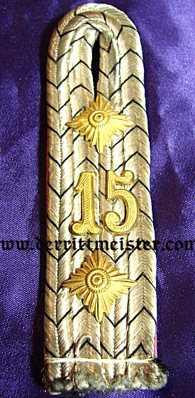 SINGLE RITTMEISTER SHOULDER BOARD - DRAGONER-REGIMENT Nr 15 - PRUSSIA - Imperial German Military Antiques Sale