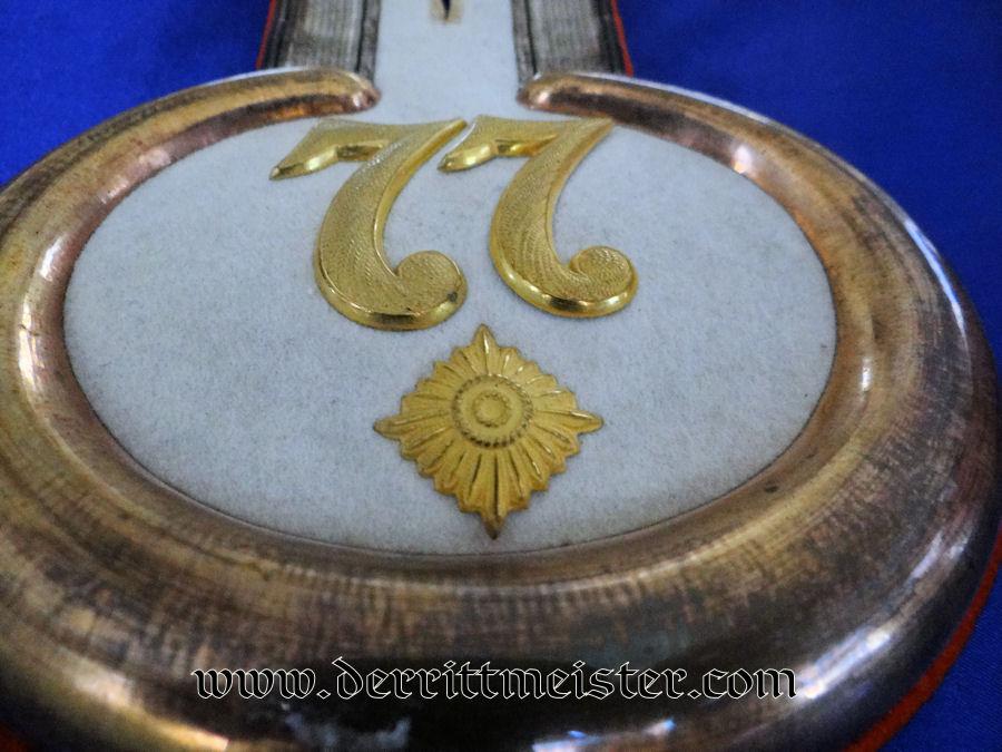 SINGLE INFANTERIE-REGIMENT Nr 77 OBERLEUTNANT'S EPAULETTE - PRUSSIA - Imperial German Military Antiques Sale