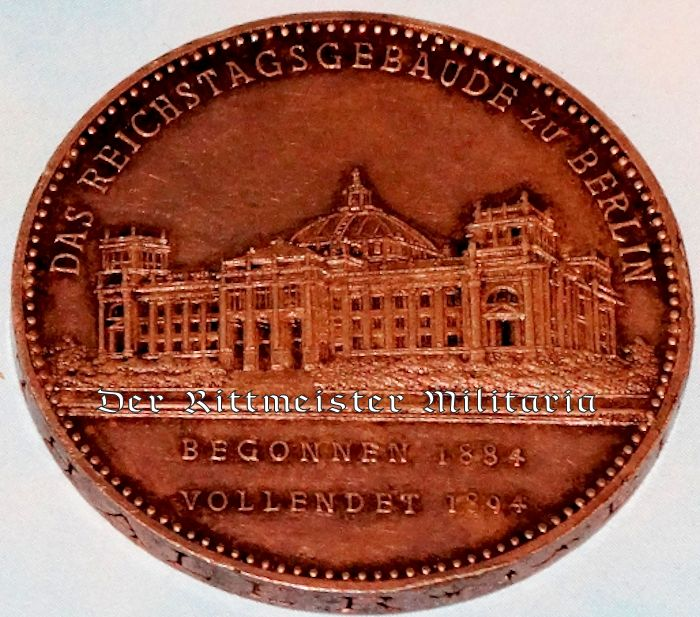 TABLE MEDAL FOR PRUSSIAN REICHSTAG BUILDING'S COMPLETION - BERLIN - Imperial German Military Antiques Sale