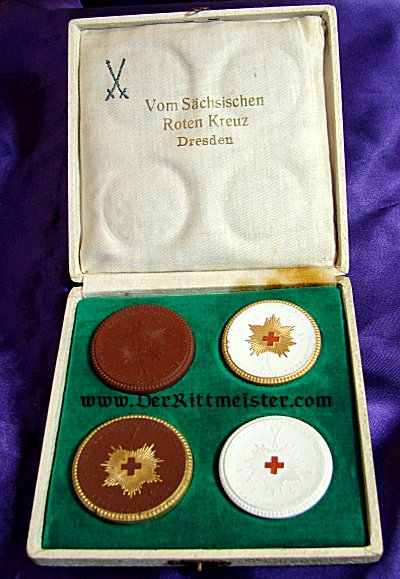 CASED SET - TABLE MEDALS - SAXON RED CROSS - MEISSEN - Imperial German Military Antiques Sale