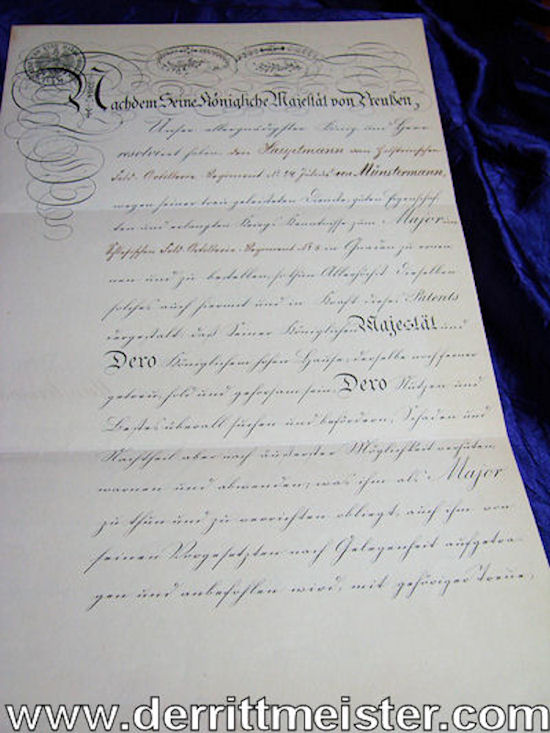 OFFICER'S PROMOTION PATENT FROM HAUPTMANN TO MAJOR SIGNED BY KAISER WILHELM I - Imperial German Military Antiques Sale