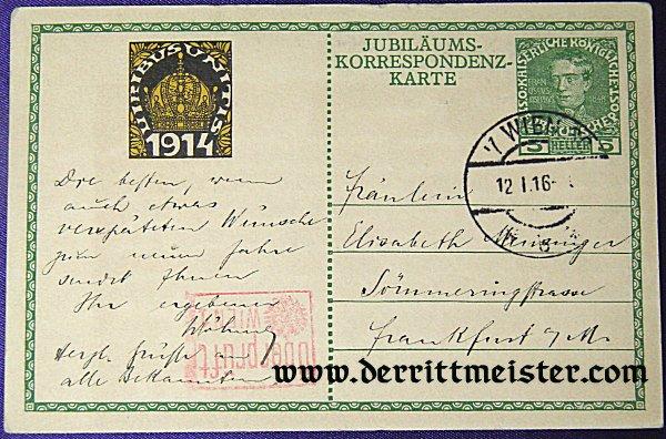 POSTCARD - KAISER FRANZ JOSEF - 60 YEARS - RULER - AUSTRIA-HUNGARY - Imperial German Military Antiques Sale