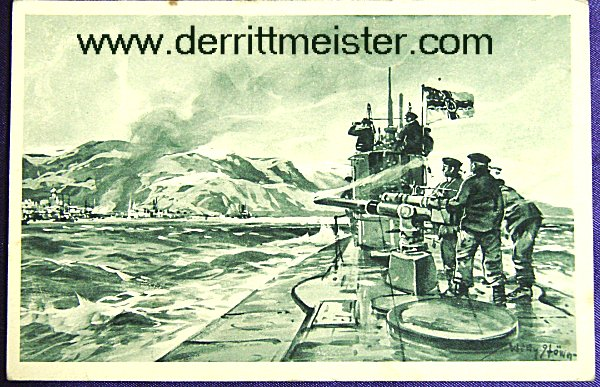 POSTCARD - U-BOAT SHELLING PORT - Imperial German Military Antiques Sale