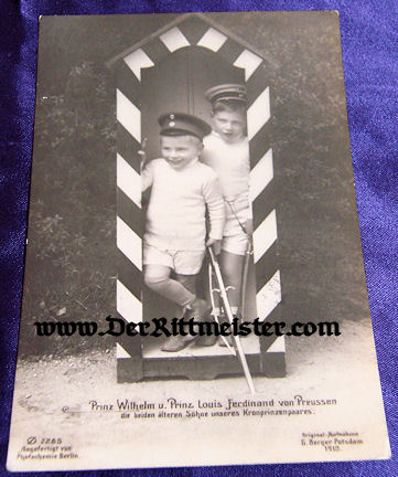 POSTCARD - KRONPRINZ WILHELM'S SONS - PRINZ WILHELM - PRINZ LOUIS FERDINAND - Imperial German Military Antiques Sale