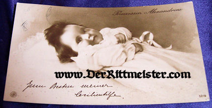 POSTCARD - KRONPRINZ WILHELM'S DAUGHTER - PRINZESSIN ALEXANDRINE - Imperial German Military Antiques Sale