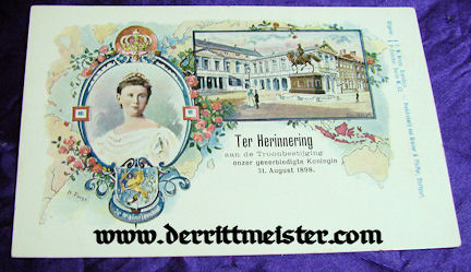 COLOR POSTCARD - QUEEN WILHELMINA - NETHERLANDS - Imperial German Military Antiques Sale