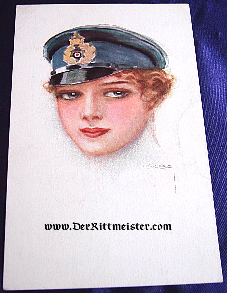 POSTCARD - YOUNG WOMAN WEARING NAVY OFFICER'S VISOR CAP - Imperial German Military Antiques Sale