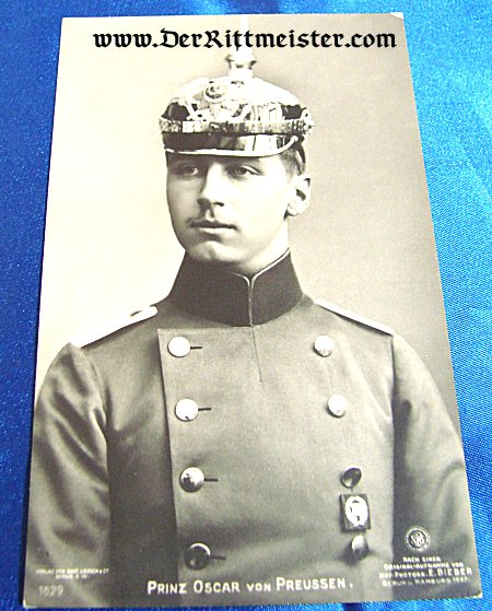 GUSTAV LIERSCH POSTCARD Nr 1629 - PRINZ OSKAR - PRUSSIA - Imperial German Military Antiques Sale
