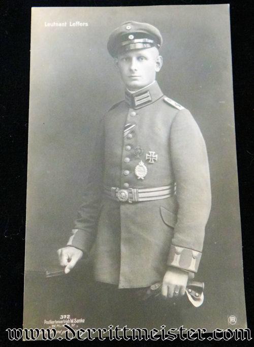 SANKE CARD Nr 372 OF PLM WINNER LEUTNANT GUSTAV LEFFERS - Imperial German Military Antiques Sale