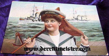 POSTCARD CUTIE - S.M.S. SCHWABEN - Imperial German Military Antiques Sale