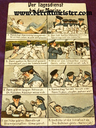COLOR POSTCARD SHOWING A SERIES OF SCENES ABOARD A NAVAL VESSEL - Imperial German Military Antiques Sale
