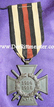 HINDENBURG CROSS - COMBATANTS - MATCHING ONE-PLACE RIBBON BAR - Imperial German Military Antiques Sale
