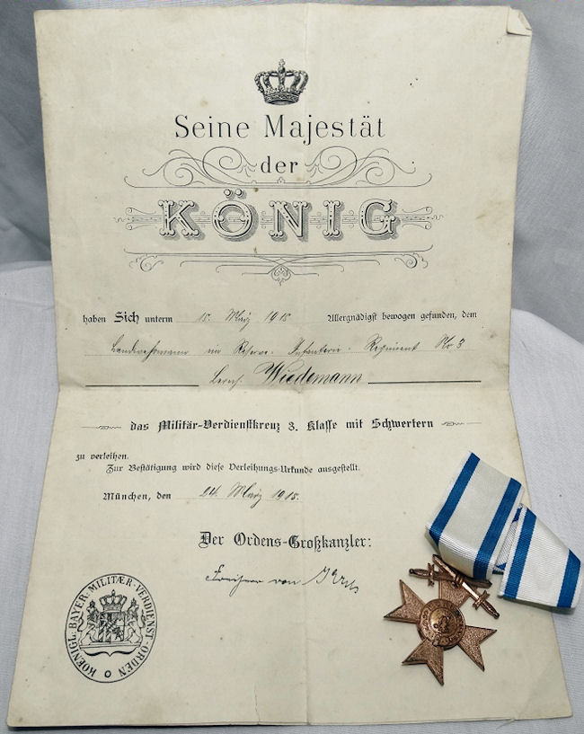 MILITARY MERIT CROSS 3rd CLASS WITH SWORDS DECORATION AND AWARD DOCUMENT - BAVARIA - Imperial German Military Antiques Sale