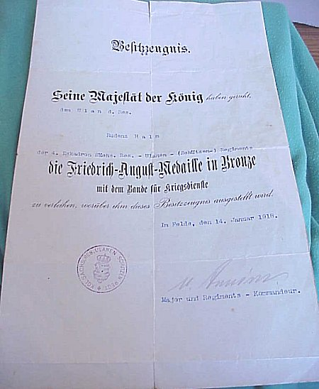 PAIR OF DOCUMENTS TO A SOLDIER WHO SERVED IN SAXON KARBINER & ULANEN REGIMENTS - Imperial German Military Antiques Sale